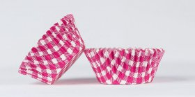500pc Mini  Greaseproof Baking Cup  Gingham Design Hot Pink