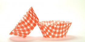 500pc Mini  Greaseproof Baking Cup  Gingham Design Orange