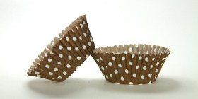500pc Mini  Greaseproof Baking Cup  Polka Dot Brown Design