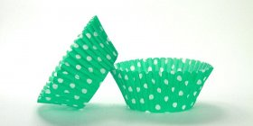 500pc Mini  Greaseproof Baking Cup  Green Polka Design