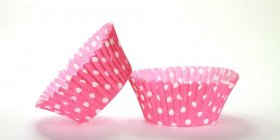 500pc Mini  Greaseproof Baking Cup  Hot Pink Polka Dot Design