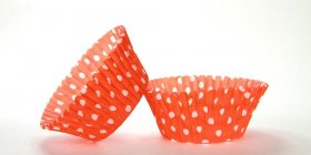 500pc Mini  Greaseproof Baking Cup  Orange Polka Dot Design