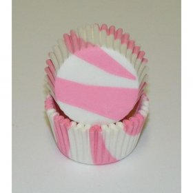 500pc Mini  Greaseproof Baking Cup Pink Zebra Design