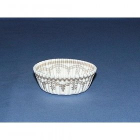 "1000pc 7/8""X2"" Danish Cup  White Glassine With Gold Design"
