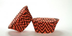 50pc Chevron Design - Black / Orange Standard Size Cupcake Baking Cups Liners Wrappers