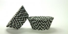 50pc Chevron Design - Black / Silver Standard Size Cupcake Baking Cups Liners Wrappers