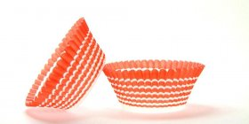 50pc Orange Circle Design Standard Size Cupcake Baking Cups Liners Wrappers