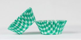 50pc Gingham Design Green Standard Size Cupcake Baking Cups Liners Wrappers