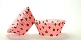 50pc Hot Dot Design Hot Pink With Brown Dots Standard Size Cupcake Baking Cups Liners Wrappers