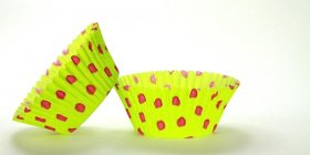 500pc Hot Dot Design Lime With Pink Dots Standard Size Cupcake Baking Cups Liners Wrappers