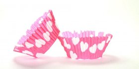 50pc Heart Design Hot Pink Standard Size Cupcake Baking Cups Liners Wrappers