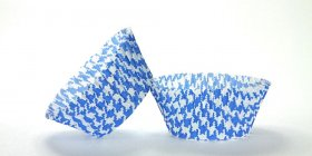 50pc Blue Houndstooth Design Standard Size Cupcake Baking Cups Liners Wrappers