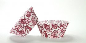 50pc Paisley Design Burgundy Standard Size Cupcake Baking Cups Liners Wrappers