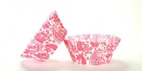 50pc Paisley Design Pink Standard Size Cupcake Baking Cups Liners Wrappers