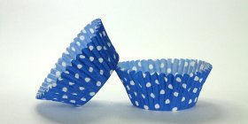 50pc Blue Polka Dot Design Standard Size Cupcake Baking Cups Liners Wrappers