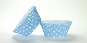 50pc Light Blue Polka Dot Design Standard Size Cupcake Baking Cups Liners Wrappers