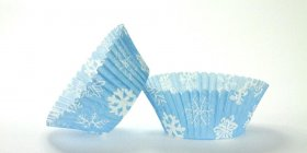 50pc Snowflake Blue Design Standard Size Cupcake Baking Cups Liners Wrappers