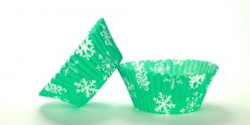 50pc Snowflake Green Design Standard Size Cupcake Baking Cups Liners Wrappers