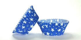 50pc Blue Star Design Standard Size Cupcake Baking Cups Liners Wrappers