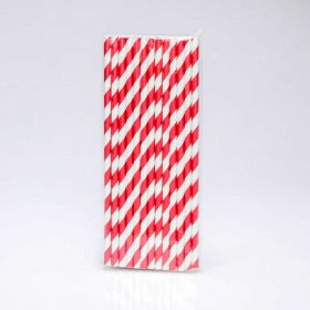 Paper Straw 25 pc - Stripes - Dark Red