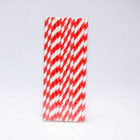 Paper Straw 25 pc - Stripes - Bright Red