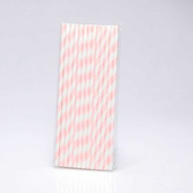 Paper Straw 25 pc - Stripes - Pale Pink