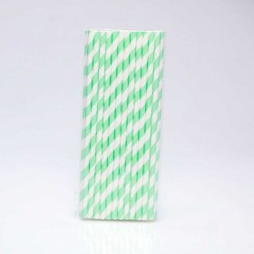 Paper Straw 25 pc - Stripes - Mint Green
