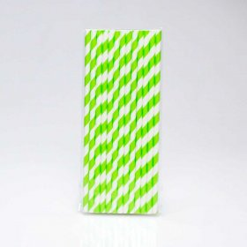 Paper Straw 25 pc - Stripes - Grass Green