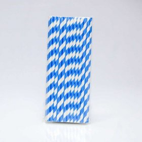 Paper Straw 25 pc - Stripes - Malibu Blue