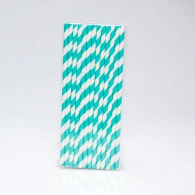 Paper Straw 25 pc - Stripes - Dark Aqua