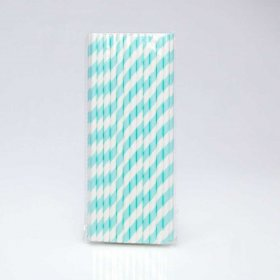 Paper Straw 25 pc - Stripes - Light Aqua