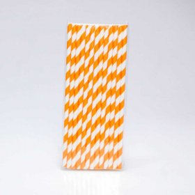 Paper Straw 25 pc - Stripes - Orange
