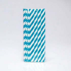 Paper Straw 25 pc - Stripes - Lgiht Blue