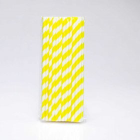 Paper Straw 25 pc - Stripes - Yellow