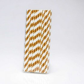 Paper Straw 25 pc - Stripes - Brown