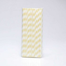 Paper Straw 25 pc - Stripes - Ivory