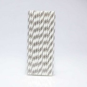 Paper Straw 25 pc - Stripes - Grey