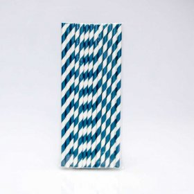 Paper Straw 25 pc - Stripes - Navy