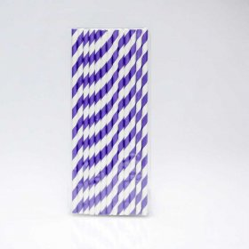 Paper Straw 25 pc - Stripes - Purple