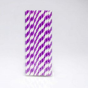 Paper Straw 25 pc - Stripes - Bright Purple