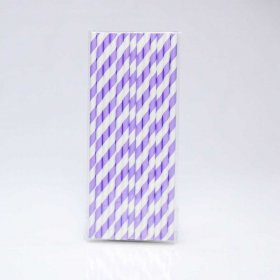 Paper Straw 25 pc - Stripes - Lilac