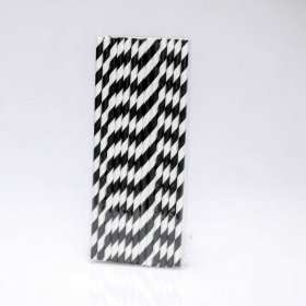 Paper Straw 25 pc - Stripes - Black