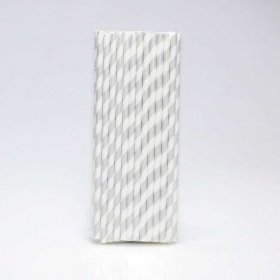 Paper Straw 25 pc - Stripes - Silver