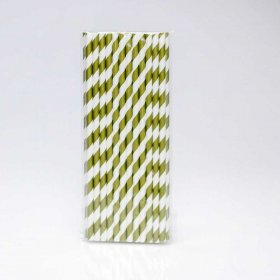 Paper Straw 25 pc - Stripes - Gold