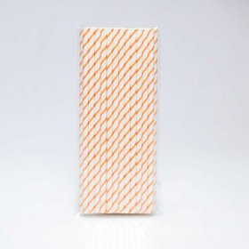 Paper Straw 25 pc - Thin Stripes - Orange