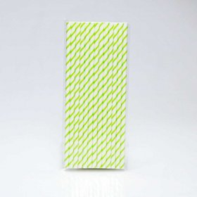 Paper Straw 25 pc - Thin Stripes - Green