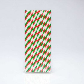 Paper Straw 25 pc - Stripes - Green And Red