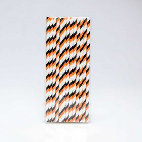 Paper Straw 25 pc - Stripes - Black And Orange