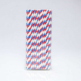 Paper Straw 25 pc - Stripes - Red And Blue
