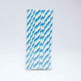 Paper Straw 25 pc - Stripes - Blue And Light Blue